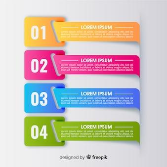 Modelo de infográfico colorido com etapas