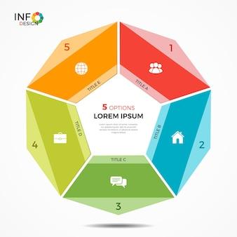 Modelo de infográfico colorido com gráfico de círculo de 5 opções. os elementos deste modelo podem ser facilmente ajustados, transformados, adicionados / completados, excluídos e a cor pode ser alterada.