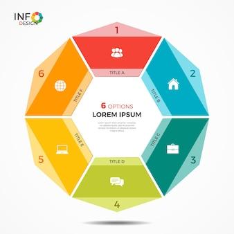 Modelo de infográfico colorido com gráfico de círculo de 6 opções. os elementos deste modelo podem ser facilmente ajustados, transformados, adicionados / completados, excluídos e a cor pode ser alterada.