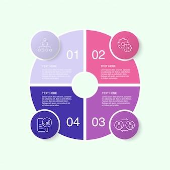 Modelo de infográfico colorido com ícones e 10 opções ou etapas.
