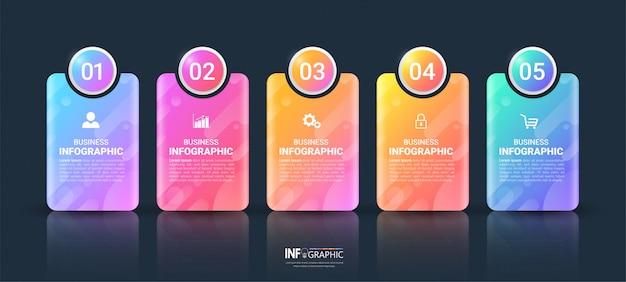 Modelo de infográfico colorido de 5 etapas.