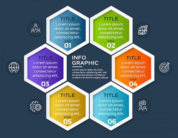 Modelo de infográfico colorido de 6 passos