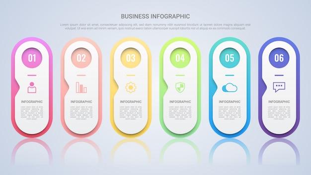 Modelo de infográfico colorido para negócios com seis etapas multicolor lael