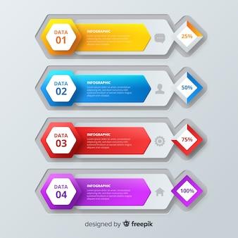 Modelo de infográfico colorido passo