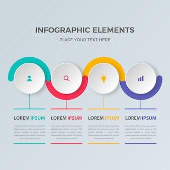 Modelo de infográfico colorido quatro etapas