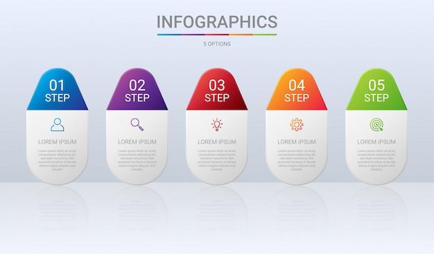 Modelo de infográfico colorido timeline com 5 etapas em fundo cinza, ilustração