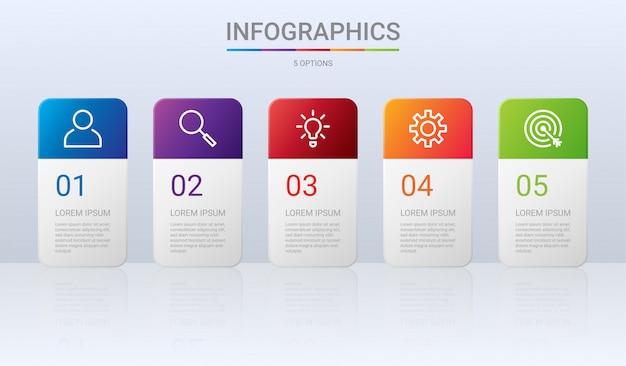 Modelo de infográfico colorido timeline com etapas em fundo cinza
