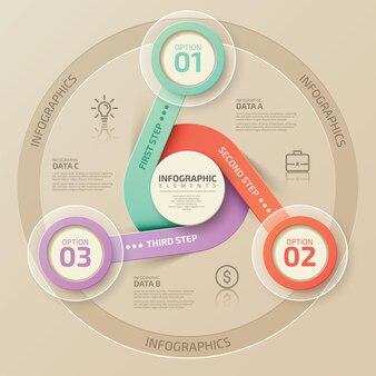 Modelo de infográfico com 3 elementos circulares conectados