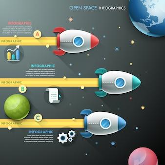 Modelo de infográfico com 3 foguetes e planetas