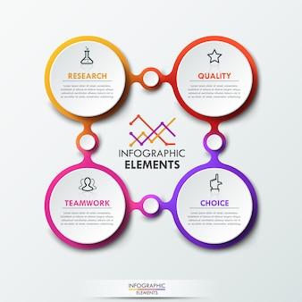 Modelo de infográfico com 4 elementos circulares conectados