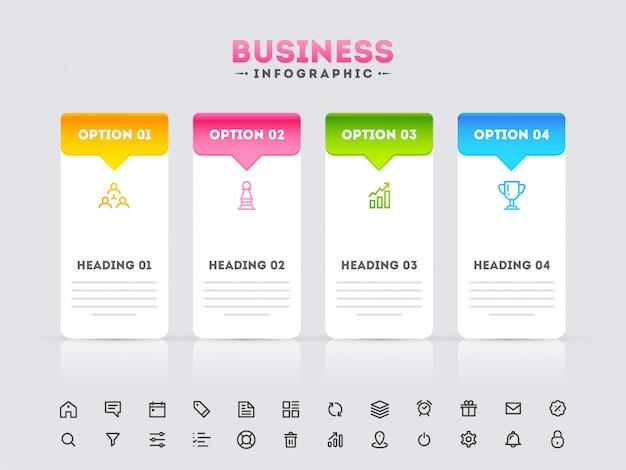 Modelo de infográfico com 4 opção e web ícones