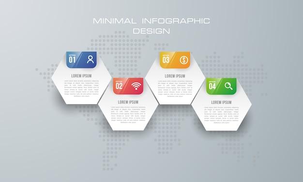 Modelo de infográfico com 4 opções, fluxo de trabalho, gráfico de processo