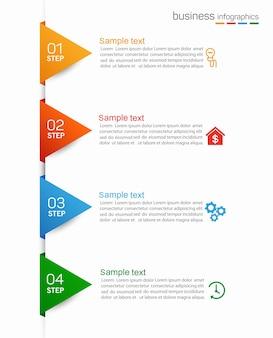 Modelo de infográfico com 4 opções ou etapas