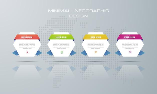 Modelo de infográfico com 4 opções