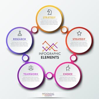 Modelo de infográfico com 5 elementos circulares conectados