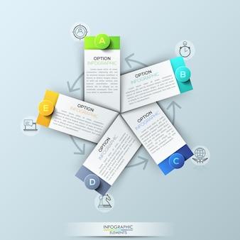 Modelo de infográfico com 5 elementos retangulares