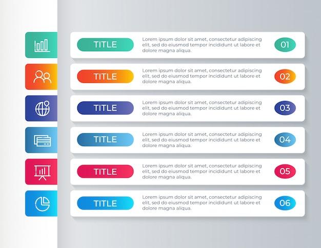 Modelo de infográfico com 6 etapas de opções