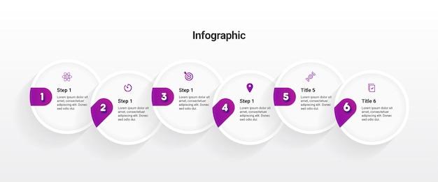 Modelo de infográfico com 6 etapas ou serviços