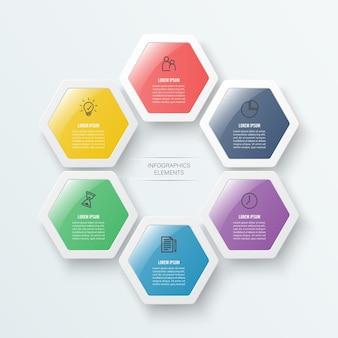 Modelo de infográfico com 6 opções em formato hexagonal