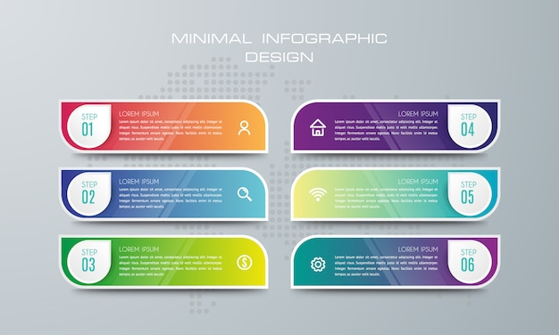 Modelo de infográfico com 6 opções, fluxo de trabalho, gráfico de processo, design de infográficos de cronograma