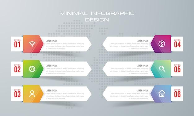 Modelo de infográfico com 6 opções, fluxo de trabalho, gráfico de processo, linha do tempo infográficos design vector
