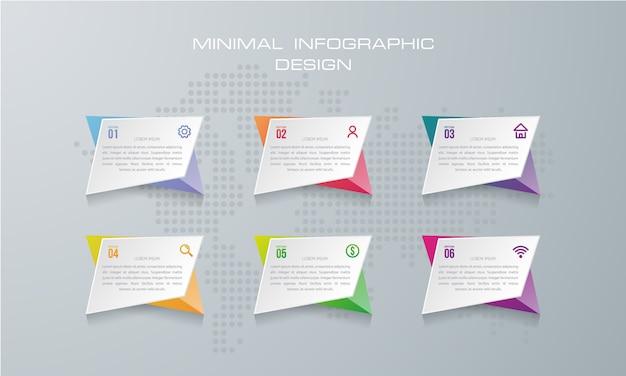 Modelo de infográfico com 6 opções, fluxo de trabalho, gráfico de processo