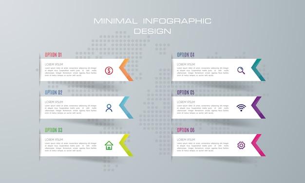 Modelo de infográfico com 6 opções