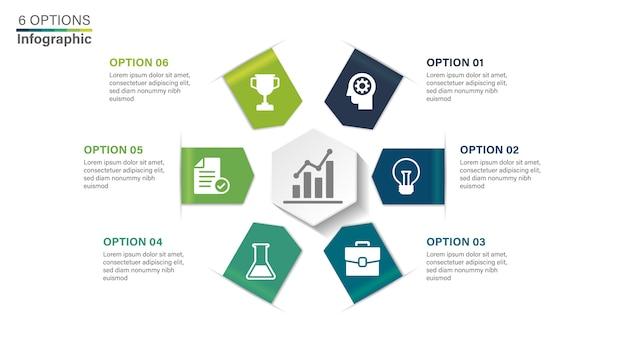 Modelo de infográfico com 6 opções.