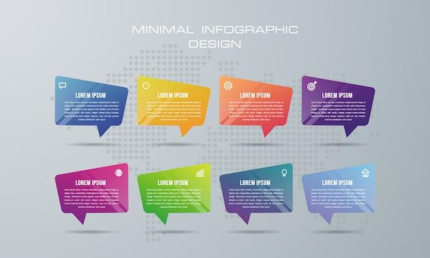 Modelo de infográfico com 8 opções, fluxo de trabalho, gráfico de processo,