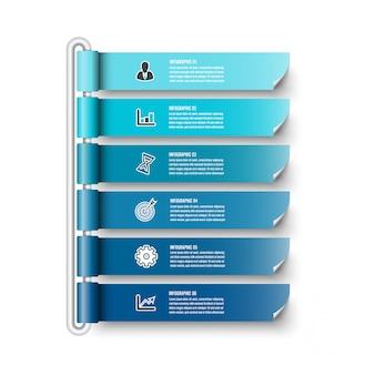 Modelo de infográfico com bandeira de papel 3d, círculos integrados. conceito de negócio com 6 opções. para conteúdo, diagrama, fluxograma, etapas, peças, infográficos da linha do tempo, fluxo de trabalho, gráfico.