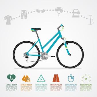 Modelo de infográfico com bicicleta e ícones, ilustração de estilo