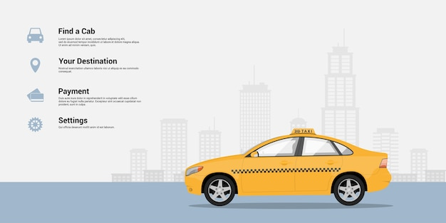 Modelo de infográfico com carro de táxi e silhueta de cidade grande no fundo, conceito de serviço de táxi, ilustração de estilo