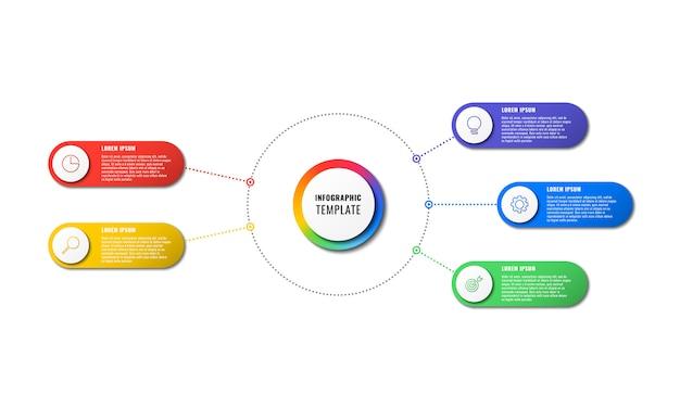 Modelo de infográfico com cinco elementos redondos no fundo branco. visualização de processos de negócios modernos com ícones de marketing de linha fina.