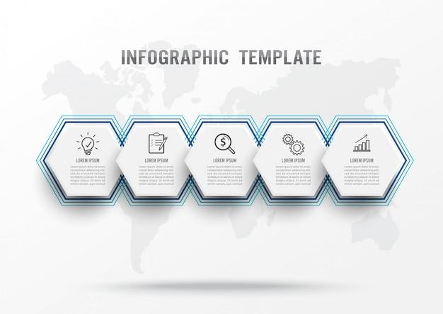 Modelo de infográfico com cinco etapas