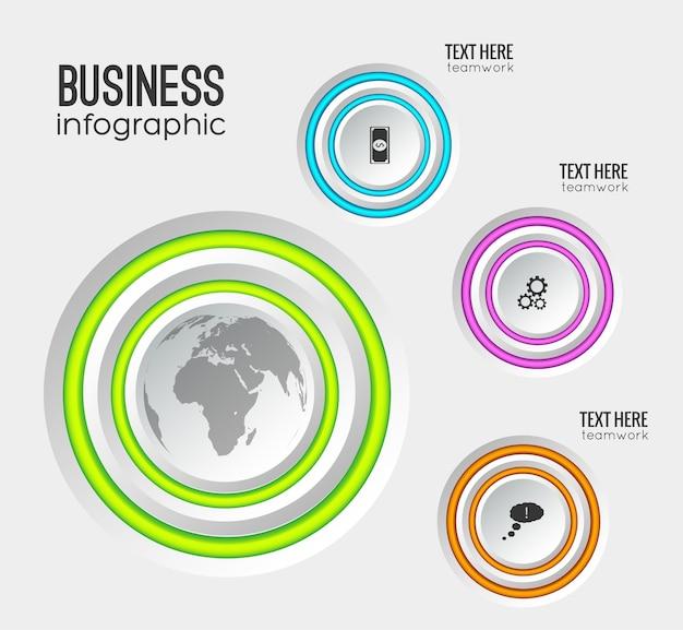 Modelo de infográfico com círculos cinza bordas coloridas e ícones de negócios