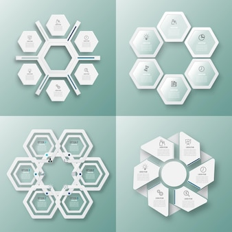 Modelo de infográfico com círculos de etiqueta de papel 3d