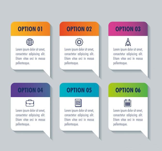 Modelo de infográfico com conceito de ícones de negócios