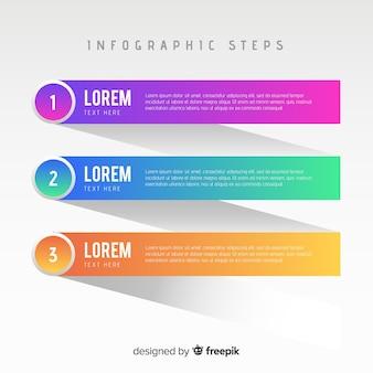 Modelo de infográfico com conceito de passos