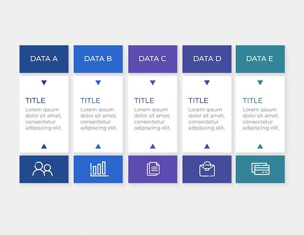 Modelo de infográfico com dados de 5 opções