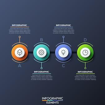 Modelo de infográfico com elementos circulares com letras