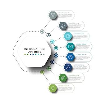 Modelo de infográfico com elementos hexagonais multicoloridos em cores planas em um fundo branco