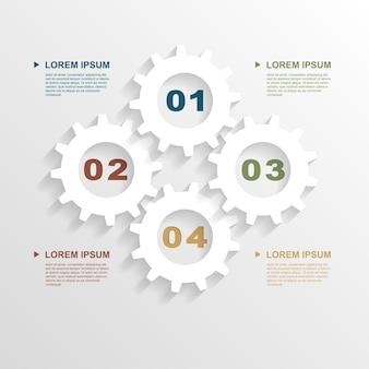 Modelo de infográfico com engrenagens de papel, modelo para apresentação de negócios,