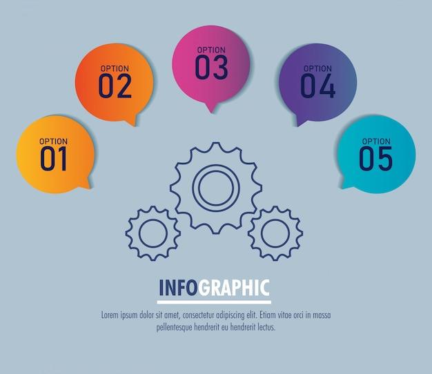 Modelo de infográfico com engrenagens e opções