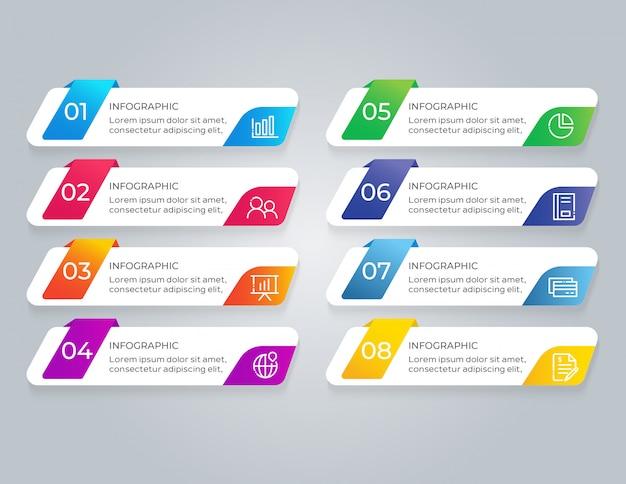 Modelo de infográfico com etapas de 8 opções
