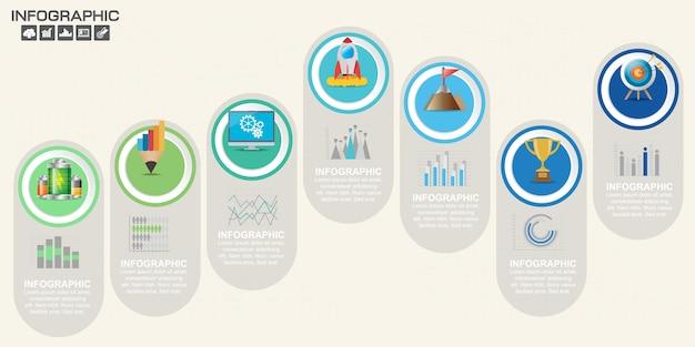 Modelo de infográfico com etapas e processo para seu projeto.