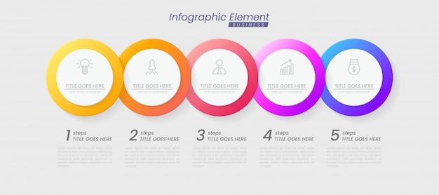 Modelo de infográfico com etapas para o sucesso. apresentação com ícones de linha, modelo de processo de gráfico de elemento de organização com texto editável. opções de brochura, diagrama, fluxo de trabalho, linha do tempo, web design