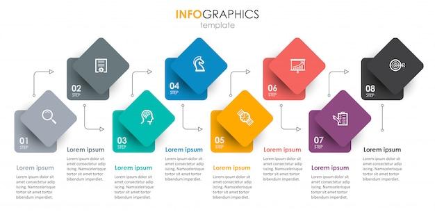 Modelo de infográfico com etapas
