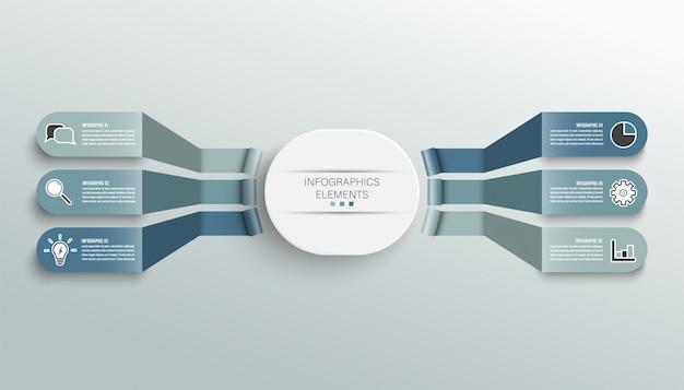 Modelo de infográfico com etiqueta de papel 3d, círculos integrados. conceito de negócio com 6 opções.