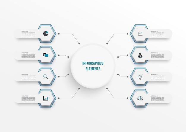 Modelo de infográfico com etiqueta de papel 3d, círculos integrados. conceito de negócio com 8 opções.