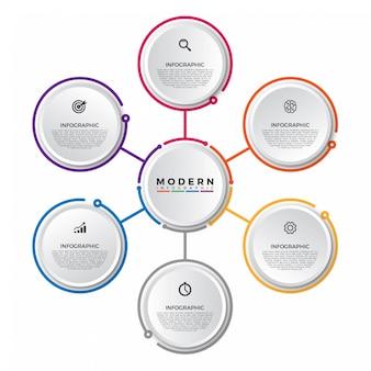 Modelo de infográfico com etiqueta de papel 3d, círculos integrados